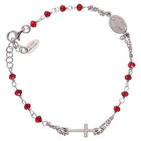 Pulsera rosario AMEN color coral plata 925 acabado Rodio s2