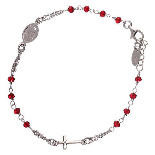 Pulsera rosario AMEN color coral plata 925 acabado Rodio 1