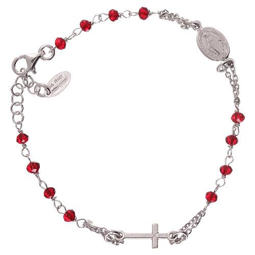 Pulsera rosario AMEN color coral plata 925 acabado Rodio 2