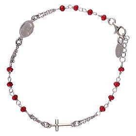 Bracelet chapelet AMEN couleur corail argent 925 fin. rhodium s1