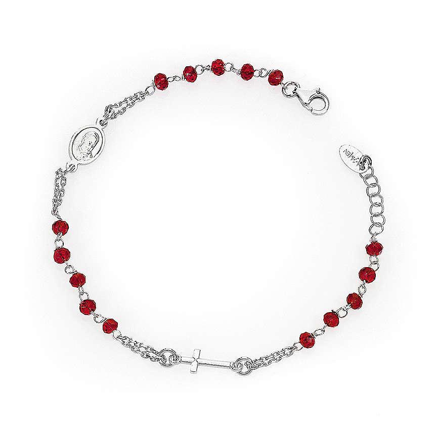 Bracciale rosario AMEN col. corallo argento 925 fin. rodio 4