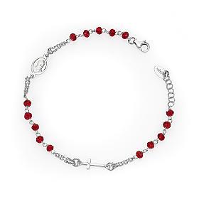 Bracciale rosario AMEN col. corallo argento 925 fin. rodio s1