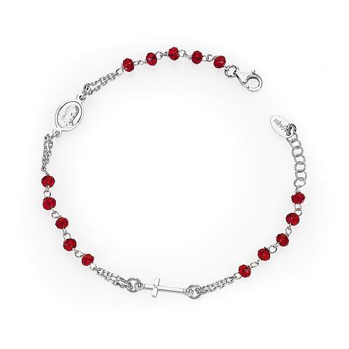 Bracciale rosario AMEN col. corallo argento 925 fin. rodio 1