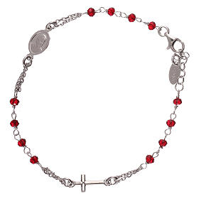 AMEN bracelets: Rosary AMEN Bracelet coral silver 925, Rhodium finish