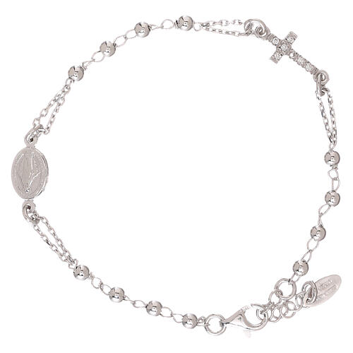 Rosary AMEN Bracelet Pavè Cross silver 925, Rhodium finish 2