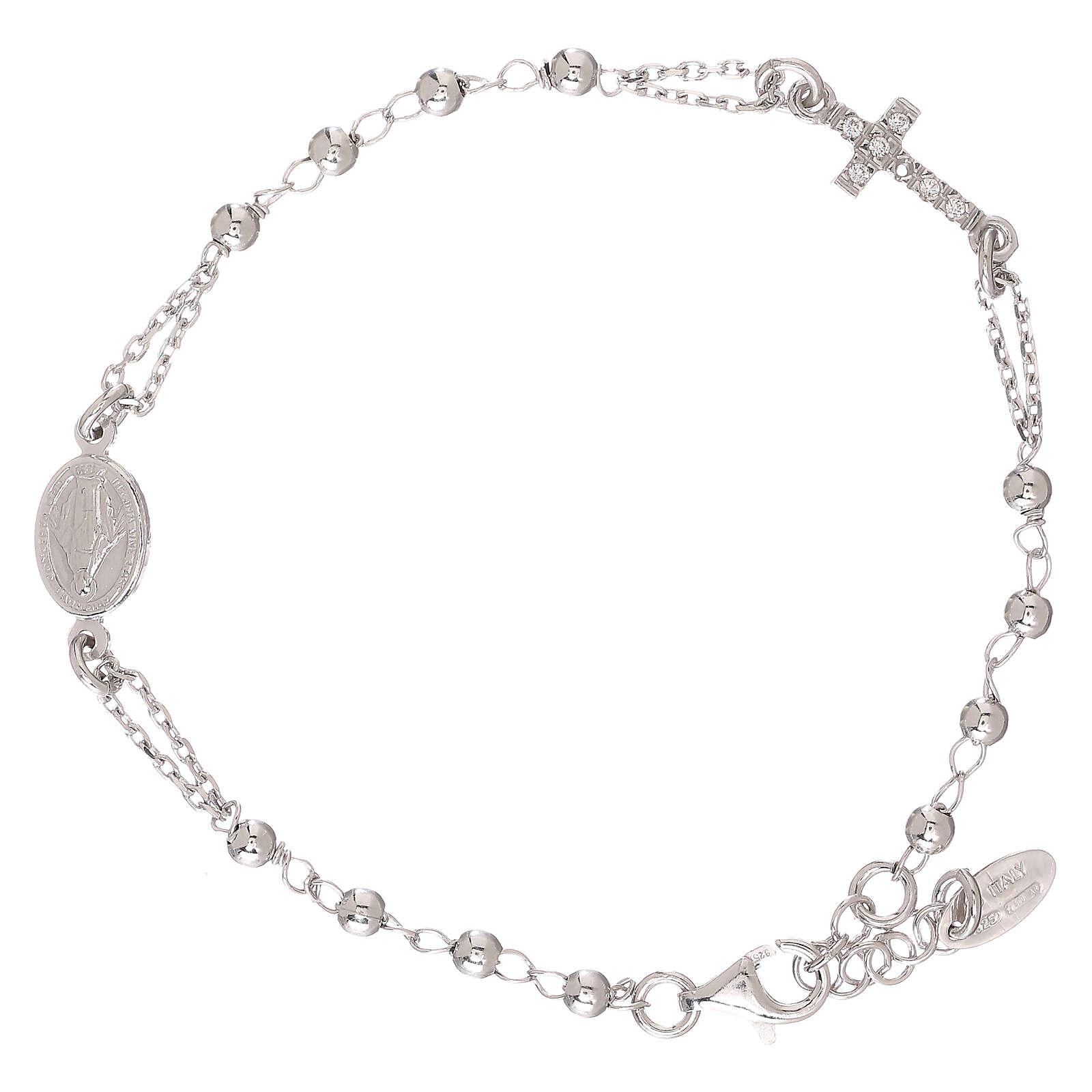 Pulsera rosario AMEN Cruz plata 925 acabado Rodio 4