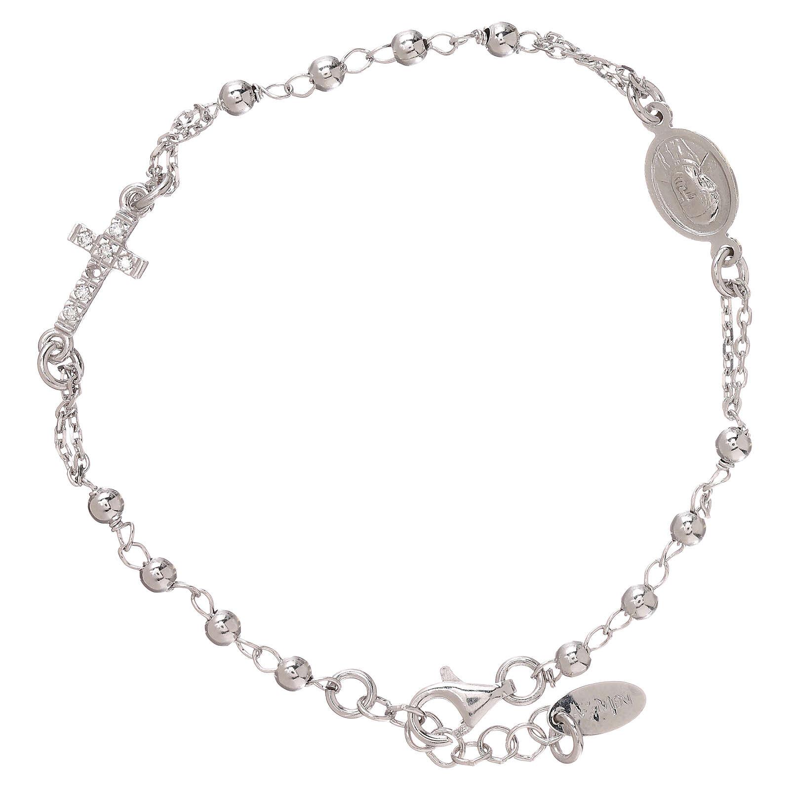 Bransoletka różaniec AMEN srebro 925 , krzyż Pave , Rodio 4