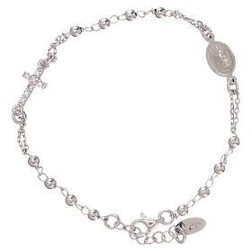Bransoletka różaniec AMEN srebro 925 , krzyż Pave , Rodio s1