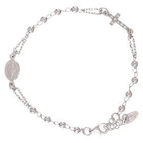 Bransoletka różaniec AMEN srebro 925 , krzyż Pave , Rodio s2