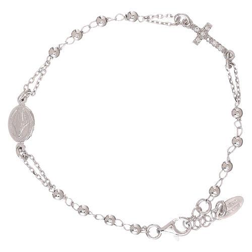 Bransoletka różaniec AMEN srebro 925 , krzyż Pave , Rodio 2