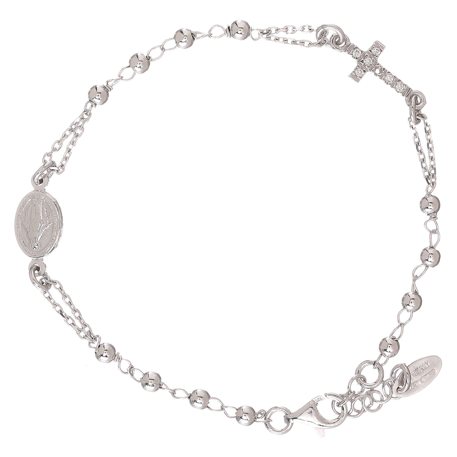 Rosary AMEN Bracelet Pavè Cross silver 925, Rhodium finish 4