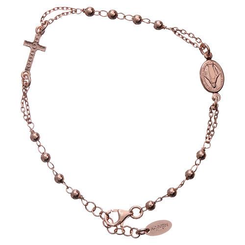 Rosary AMEN Bracelet Pavè Cross silver 925, Rosè finish 2