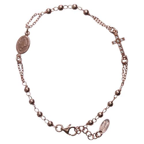 Pulsera rosario AMEN Cruz plata 925 acabado rosado 1