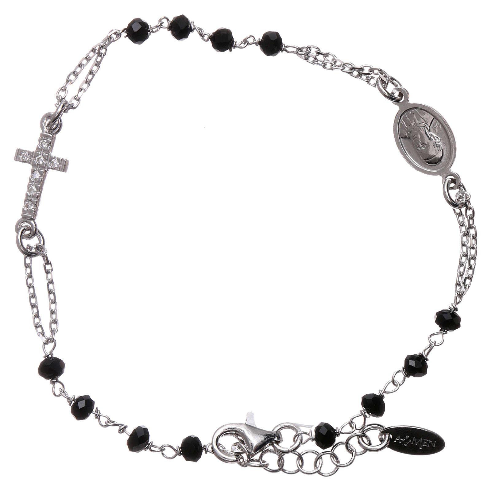 Bransoletka różaniec AMEN srebro 925 , krzyż Pave , kryształki czarne, Rodio 4