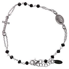 Bransoletka różaniec AMEN srebro 925 , krzyż Pave , kryształki czarne, Rodio s1