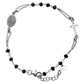 Bransoletka różaniec AMEN srebro 925 , krzyż Pave , kryształki czarne, Rodio s2