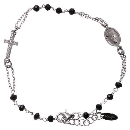 Bransoletka różaniec AMEN srebro 925 , krzyż Pave , kryształki czarne, Rodio 1