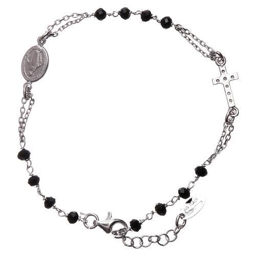 Bransoletka różaniec AMEN srebro 925 , krzyż Pave , kryształki czarne, Rodio 2