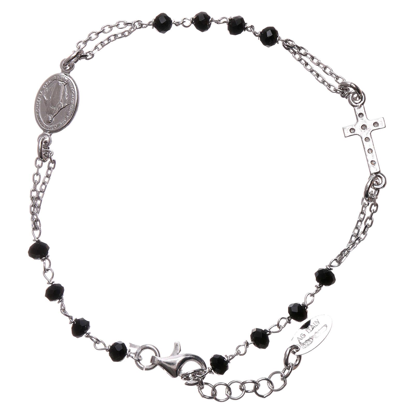 Rosary AMEN Bracelet Pavè Cross silver 925 black crystals, Rhodium finish 4