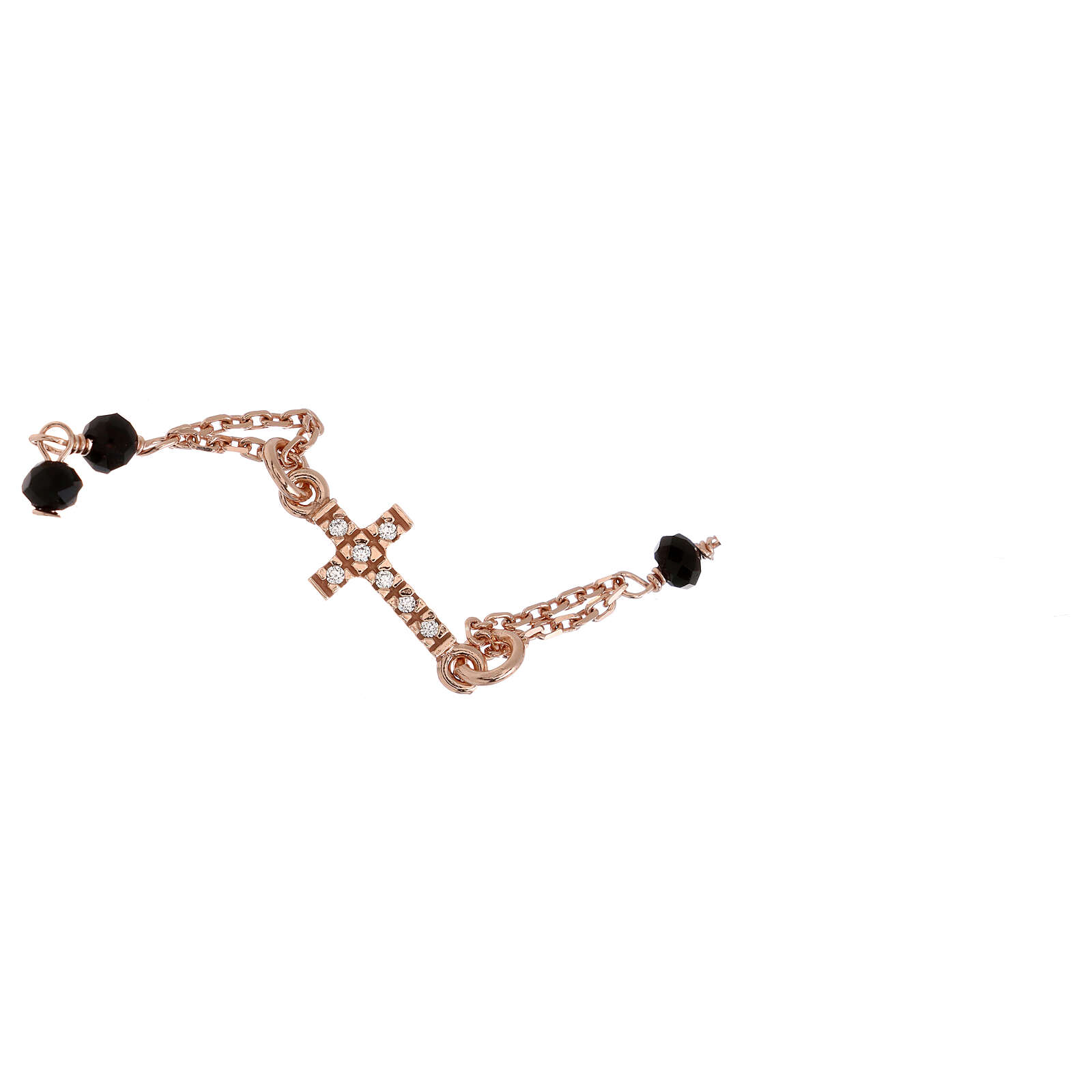 Rosary AMEN Bracelet Pavè Cross silver 925 black crystals, Rosè finish 4