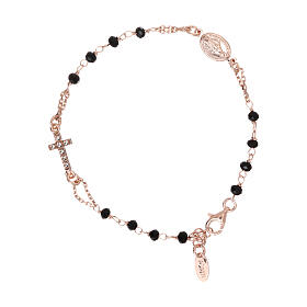 Rosary AMEN Bracelet Pavè Cross silver 925 black crystals, Rosè finish s1