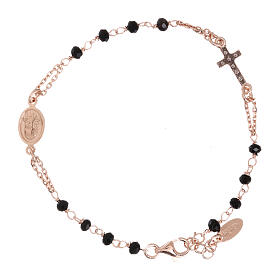 Rosary AMEN Bracelet Pavè Cross silver 925 black crystals, Rosè finish s2