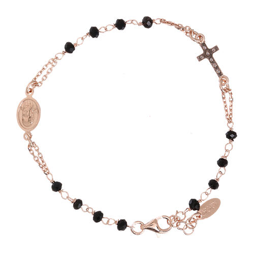 Rosary AMEN Bracelet Pavè Cross silver 925 black crystals, Rosè finish 2