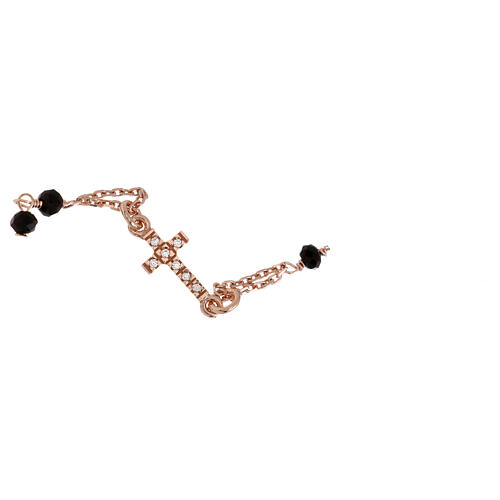 Rosary AMEN Bracelet Pavè Cross silver 925 black crystals, Rosè finish 3