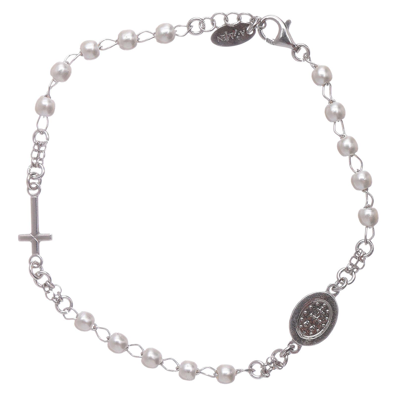 Bracelet chapelet AMEN Miraculeuse perles argent 925 fin. rhodium 4