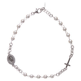 Bracelet chapelet AMEN Miraculeuse perles argent 925 fin. rhodium s1