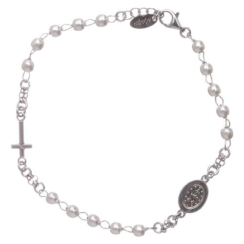 Bracelet chapelet AMEN Miraculeuse perles argent 925 fin. rhodium 2