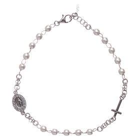 AMEN bracelets: Rosary AMEN Bracelet Miraculous Pavè pearls 925 silver, Rhodium finish