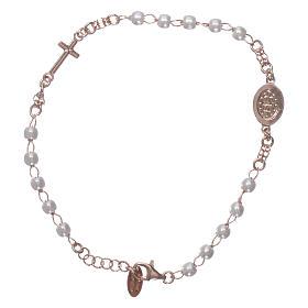Bracciale rosario AMEN Miracolosa Pavè perle arg 925 fin. Rosè s2