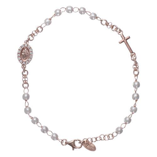 Bracciale rosario AMEN Miracolosa Pavè perle arg 925 fin. Rosè 1
