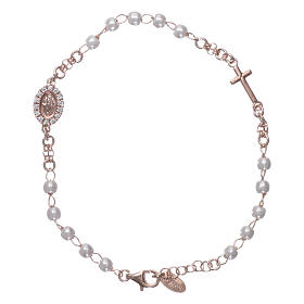 AMEN bracelets: Rosary AMEN Bracelet Miraculous Pavè pearls 925 silver, Rosè finish