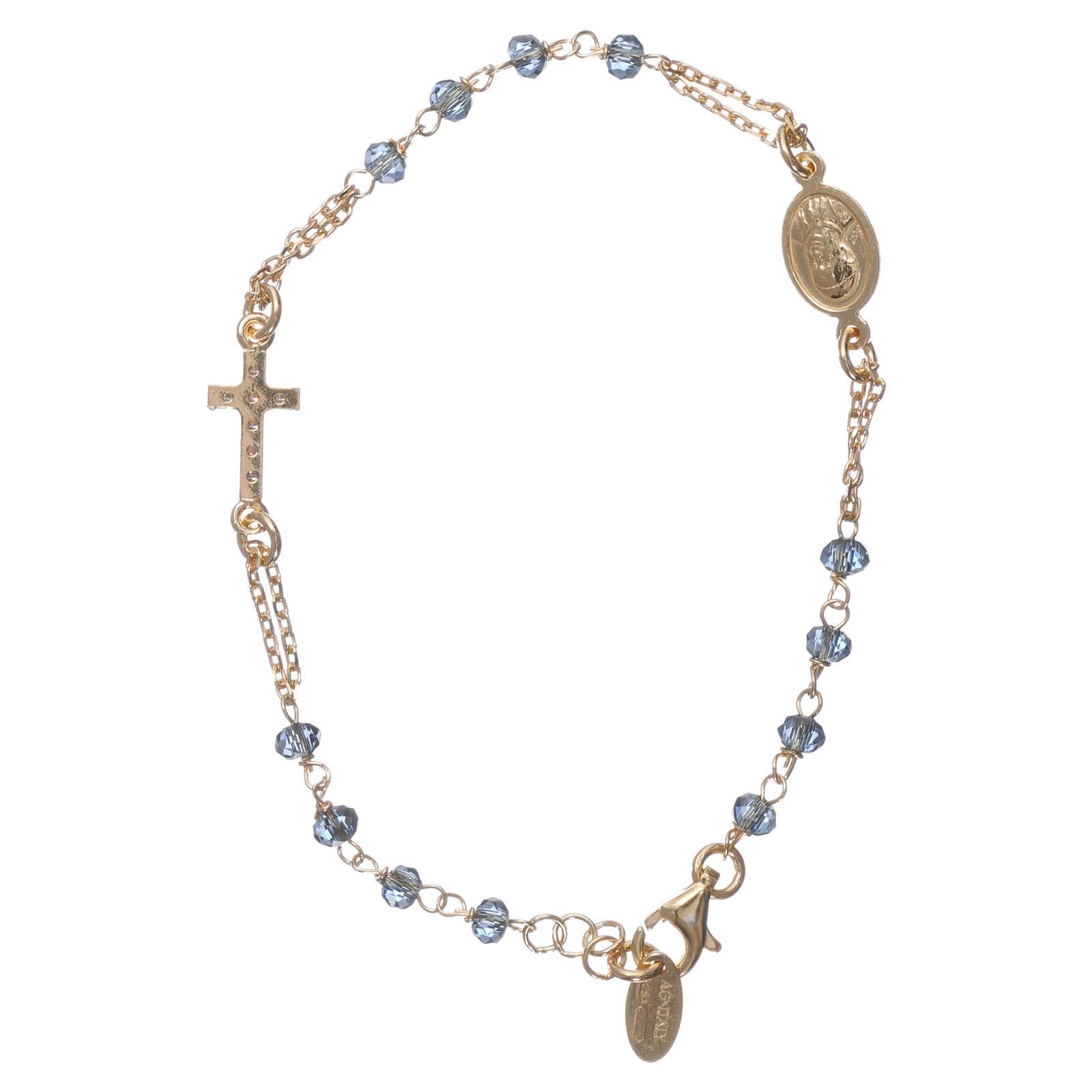 Bracciale rosario AMEN croce pavè crist blu arg 925 fin. Giallo 4