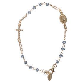 Bracciale rosario AMEN croce pavè crist blu arg 925 fin. Giallo s2