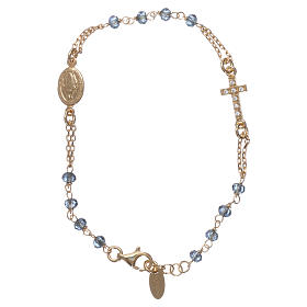 AMEN bracelets: Rosary AMEN Bracelet Pavè Cross blue crystals silver 925, Yellow finish