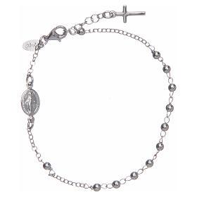 Pulsera rosario AMEN cruz charm plata 925 acabado Rodio s1