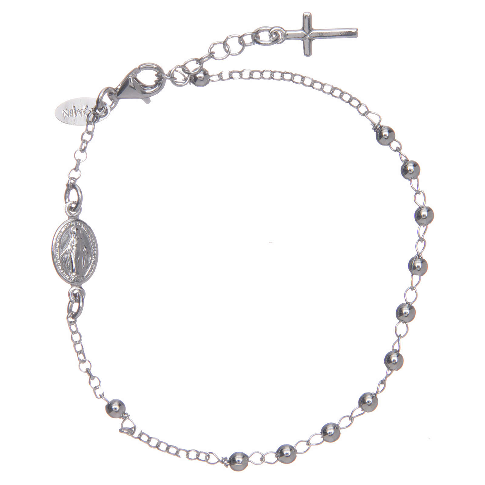 Bransoletka różaniec AMEN srebro 925 , krzyż charm, Rodio 4