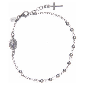 Rosary AMEN Bracelet Charm Cross silver 925, Rhodium finish s1