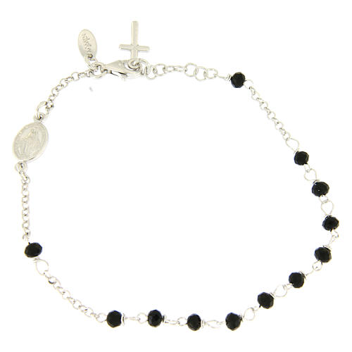 Rosary AMEN Bracelet Charm Cross silver 925 crystals, Rhodium finish 1