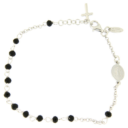 Rosary AMEN Bracelet Charm Cross silver 925 crystals, Rhodium finish 2