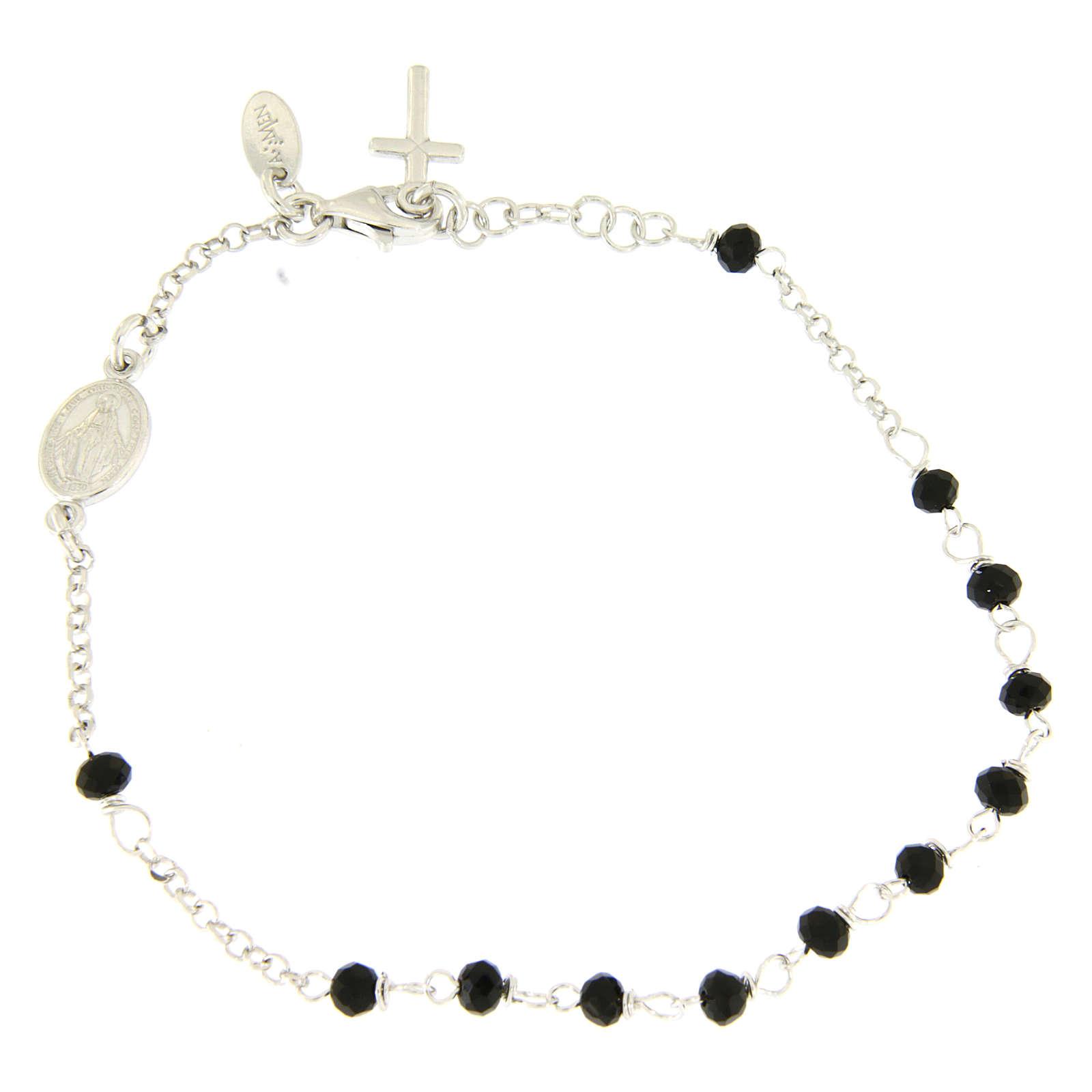 Pulsera rosario AMEN cruz charm plata 925 cristales acabado Rodio 4