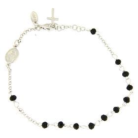 Pulsera rosario AMEN cruz charm plata 925 cristales acabado Rodio s1