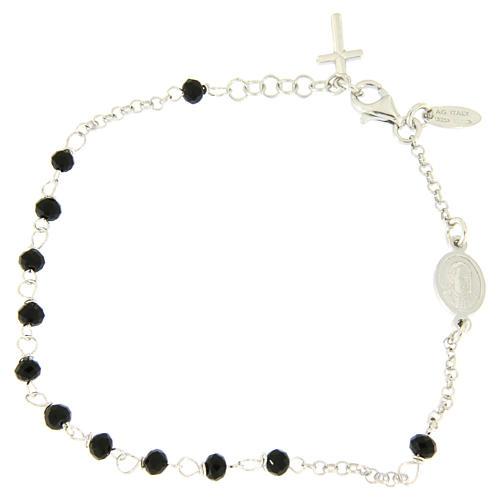 Pulsera rosario AMEN cruz charm plata 925 cristales acabado Rodio 2