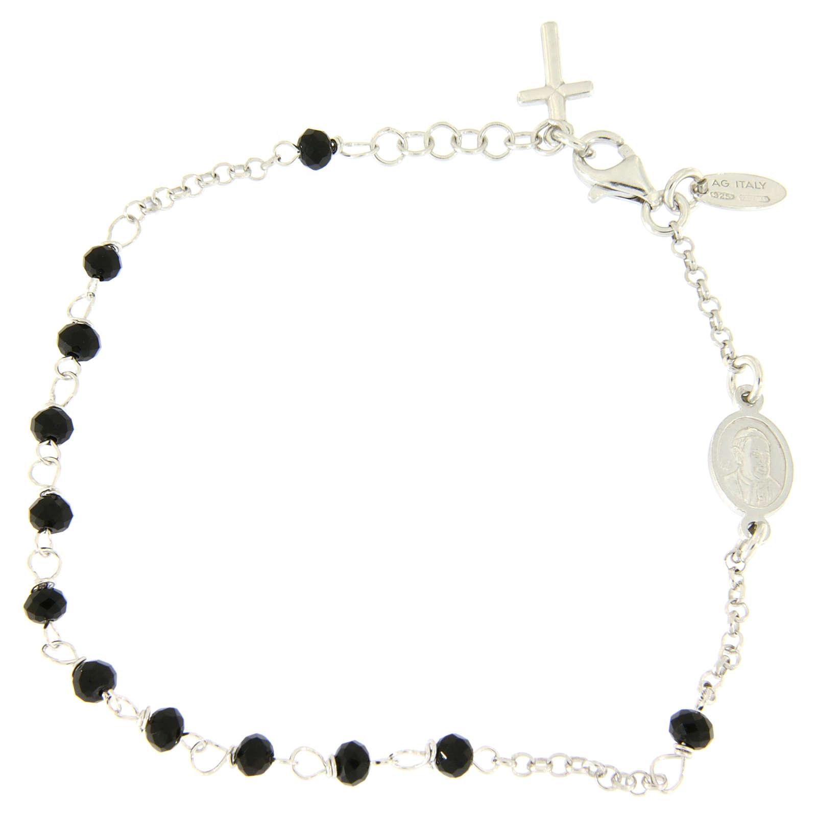 Rosary AMEN Bracelet Charm Cross silver 925 crystals, Rhodium finish 4