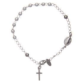 Pulsera rosario AMEN cruz charm perlas plata 925 acabado Rodio s1