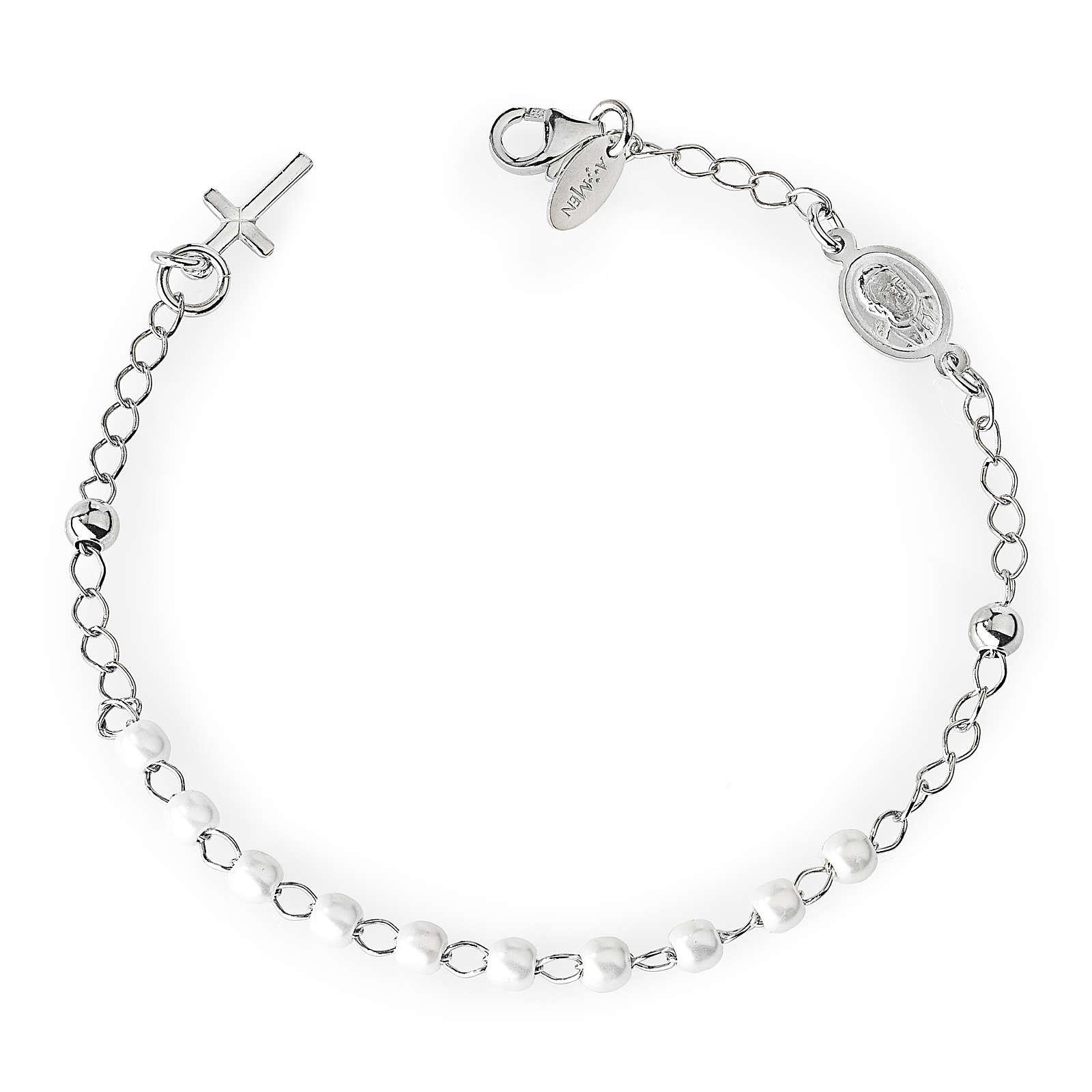 Bracciale rosario AMEN croce charm perle arg 925 fin. Rodio 4