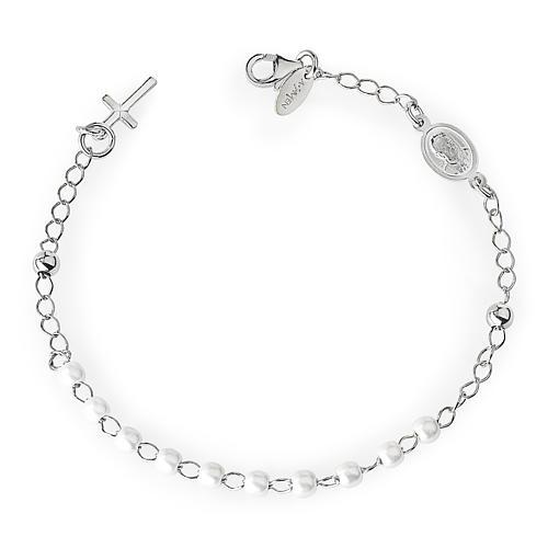 Bracciale rosario AMEN croce charm perle arg 925 fin. Rodio 1
